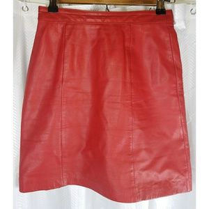 Vintage 80's Red Leather Mini Skirt Size 2